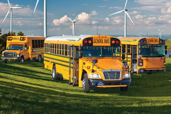 Bluebird Bus Fleet in a Field