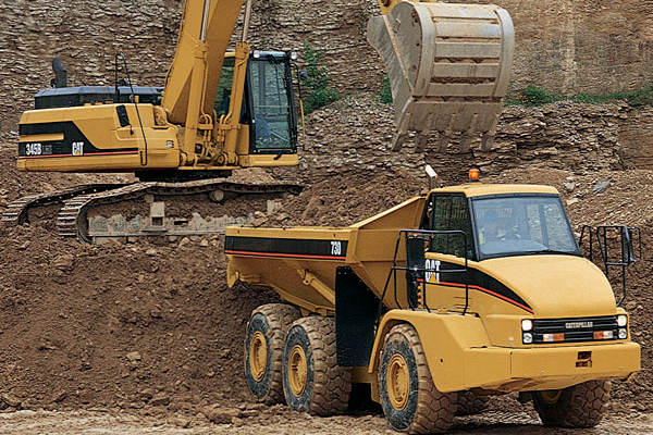 Cat Excavator Loading Cat Articulated Truck with Dirt
