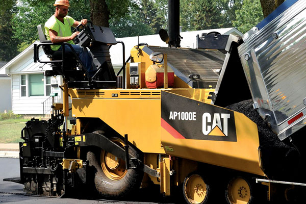 Cat Asphalt Paver Laying Asphalt