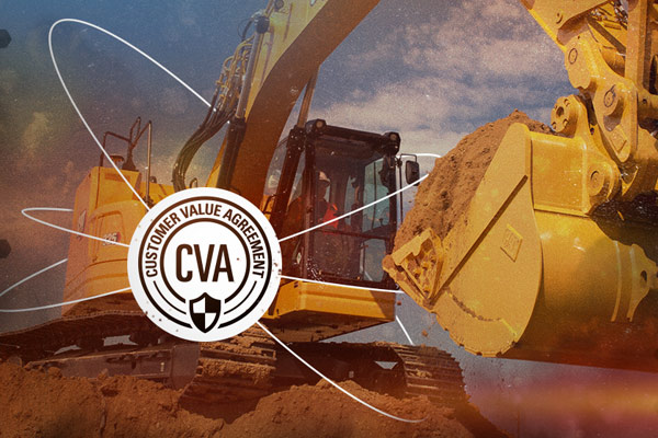 Cat Excavator w/ Customer Value Agreement Logo