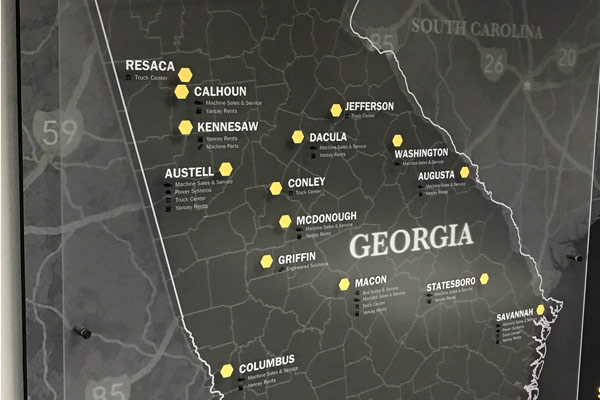 Map of Georgia with Yancey Locations