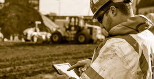 Cat Customer Using Tablet on Jobsite