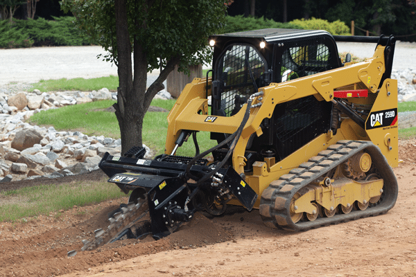 Cat 259D with Landscaping Trencher